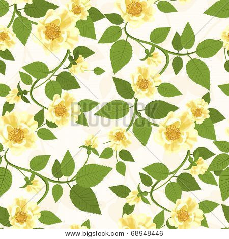 Yellow Roses Seamless Pattern
