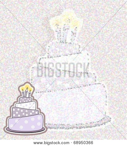 Birthday Cake Card - Pointillism