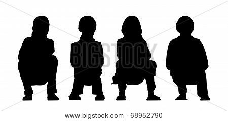 Medium Group Of Children Seated Silhouette 3