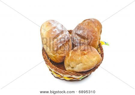 Buns In A Woven Basket On A White Background + Clipping Path