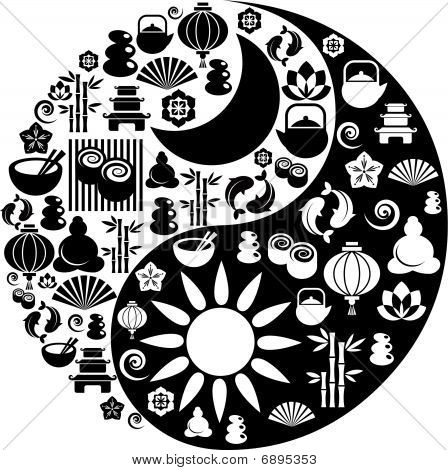 Yin Yang Symbol Made From Zen Icons