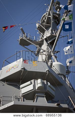 STATEN ISLAND, NY - MAY 25, 2014: Low angle port side view of the conning area on the guided-missile destroyer USS Cole (DDG 067) moored during Fleet Week NY at Sullivans Piers on May 25, 2014.