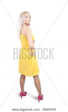 Standing Girl In Yellow Dress