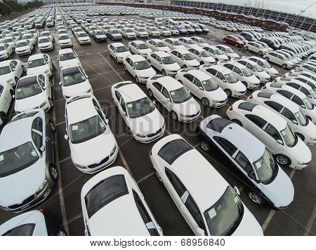 Koper, Slovenia - 2 May 2014: Aerial view on parket cars in Koper port in Slovenia.