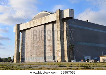 TUSTIN, CALIFORNIA - MAY 15, 2013: Blimp Hangar 1 at the former MCAS, Tustin, CA. The massive concrete doors of the hangar that is slated for preservation and the centerpiece of a new Regional Park.