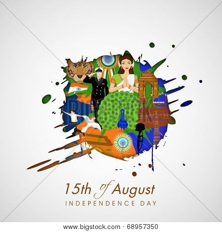 India at a glance, creative view of India map with Indian traditional culture, famous monuments, national bird, flying pigeons and saluting soldier for Independence Day celebrations.