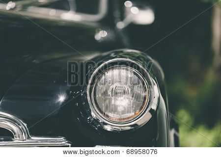 closeup of a soviet classic vintage car .