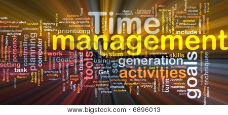 Time Management Word Cloud Glowing
