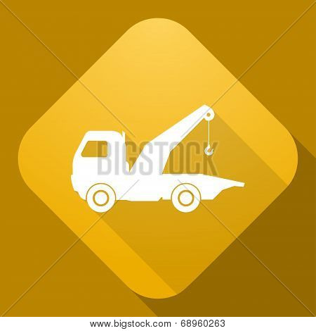 Vector Icon Of Wrecker With A Long Shadow