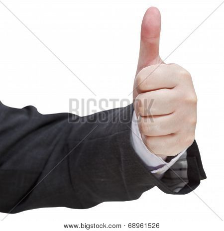 Front View Of Thumbs Up Sign - Hand Gesture