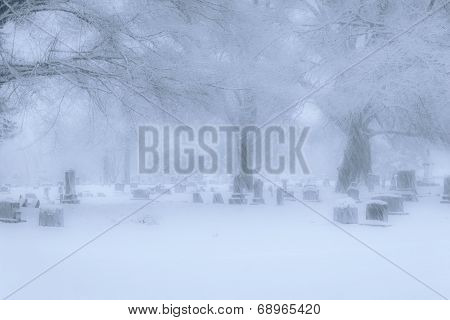 Old Southern Graveyard In A Snow Storm