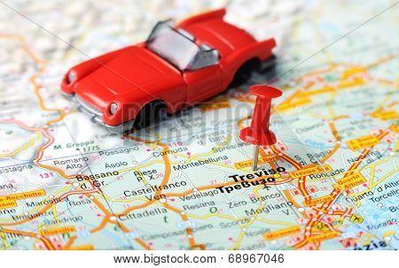 Treviso  Italy Map Car