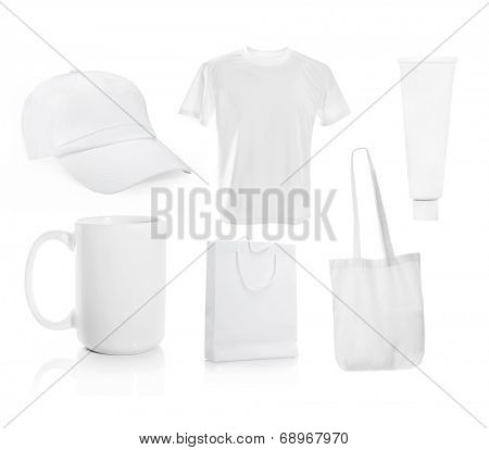 Set ot White blank men's t-shirt with a cap and other objects for advertising
