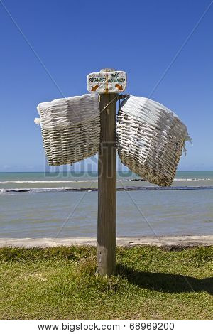 Selective organic and not organic trash baskets in a tropical place in Bahia - Brazil