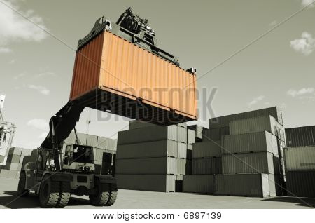 forklift, containers and port