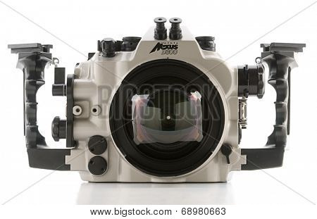Ankara, Turkey - June 11, 2012: Nexus underwater housing system isolated on white background.
