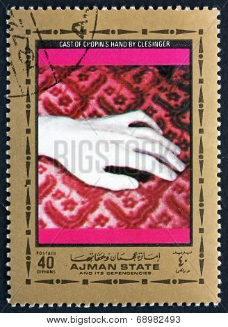 Postage Stamp Ajman 1972 Cast Of Chopins Hand