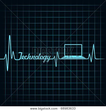 Medical technology concept -heartbeat laptop icon
