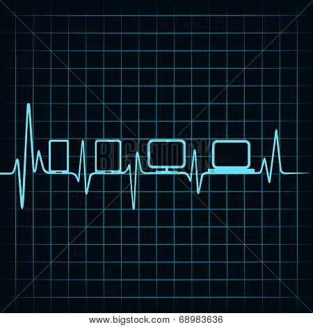 Medical technology concept -heartbeat gadgets icon