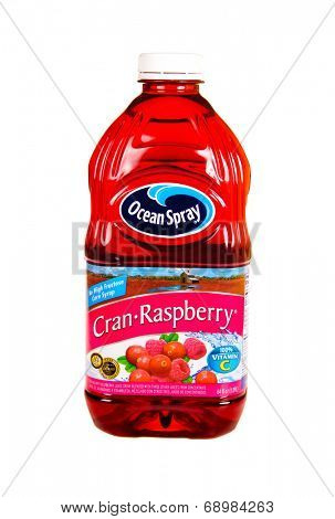 Hayward, CA - July 24, 2014: 64 fl oz bottle of Ocean Spray Brand Cran-Raspberry juice, containing no high fructose corn syrup and full of vitamin C