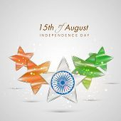 Beautiful stars in national tricolors with Ashoka Wheel on shiny grey background for 15th of August Indian Independence Day celebrations.  poster