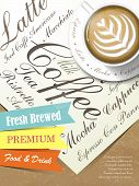 poster with fresh brewed coffee art on paper template poster