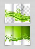Green wave fresh digital design for tri-fold brochure poster