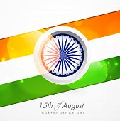 15th of August, Indian Independence Day celebrations with Asoka Wheel and national tricolors colors stripe on grey background.  poster