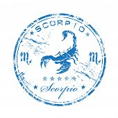 Blue grunge rubber stamp with the symbol of Scorpio poster
