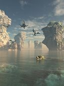 Fantasy illustration of a group of dragons flying from the cliffs and swimming in the ocean between sea stacks, 3d digitally rendered illustration poster