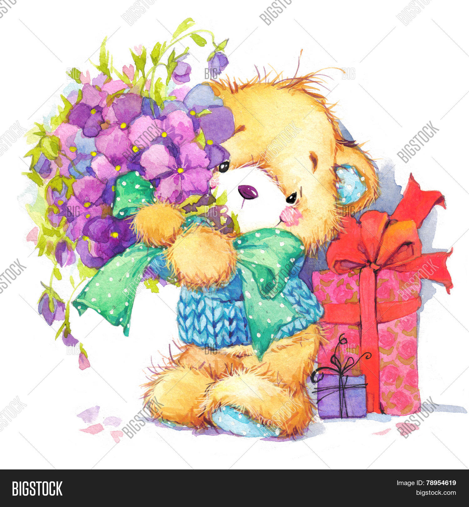 Teddy bearckground image photo free trial bigstock teddy bearckground for birthday cardwatercolor izmirmasajfo