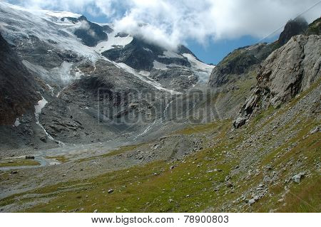 Valley And Glacier In Alps In Switzerland