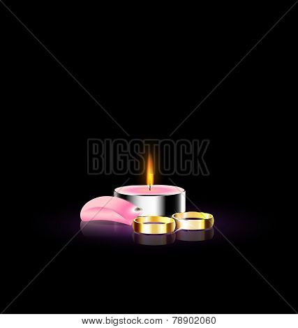candle with petal and ring
