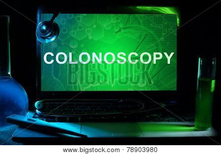 Notebook with words colonoscopy
