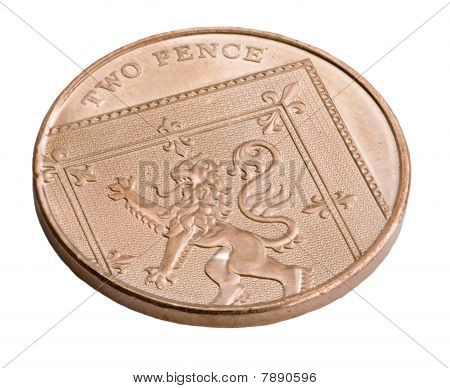 A Uk Copper Two Pence Coin Isolated On White