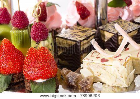 cream dessert and fruit
