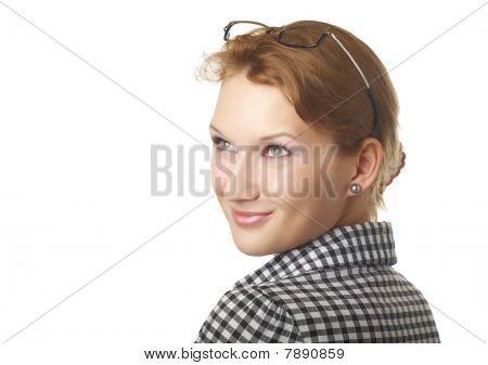 Girl With Bright Make-up And Attractive Smile