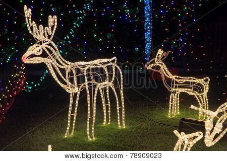 Reindeer Christmas Decorations Bright Light