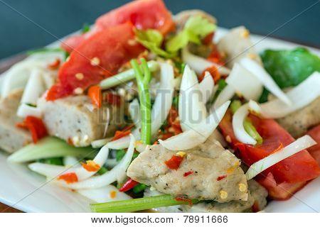 Thai Cuisine Spicy Pork Salad, Yum Moo Yor