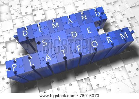 Demand Side Platform - puzzle 3d render illustration with block letters on blue jigsaw pieces poster