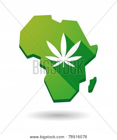 Africa Continent Map Icon With A Marijuana Leaf