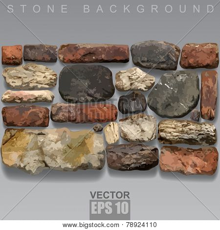 Set of stones and old bricks of different sizes, forms and colors. Stone background. Vector illustration