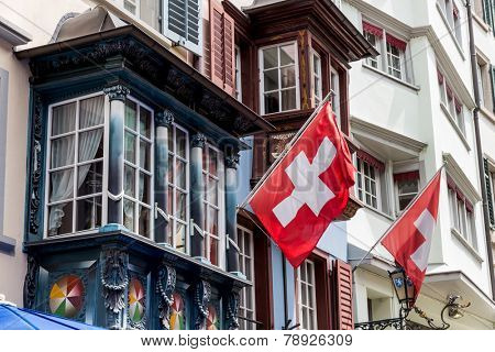switzerland, zurich. the augustinian alley in the old town.