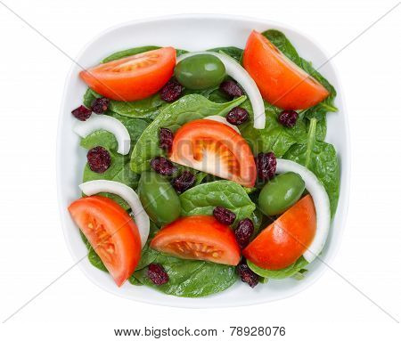 Close Up Top View Of Fresh Salad In Plate Isolated On White