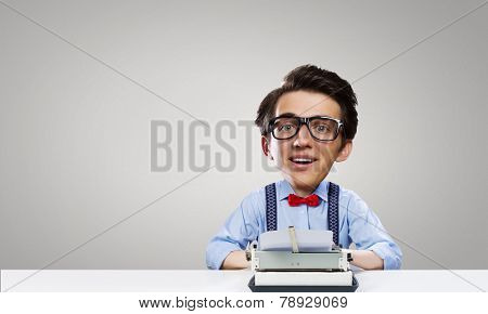Young funny man writer with big head