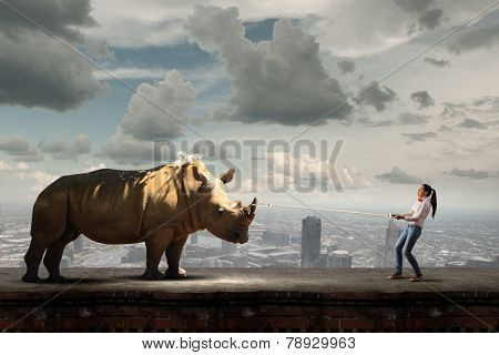 Young scared woman holding rhino on rope