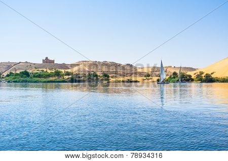 The Mausoleum of Aga Khan located on the west bank of Nile Aswan Egypt. poster