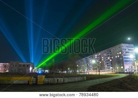 Circus spotlights in the night