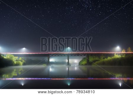 Reflection Of The Bridge At Night