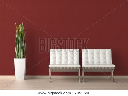 Interior Design Of Two White Chair On A Red Wall